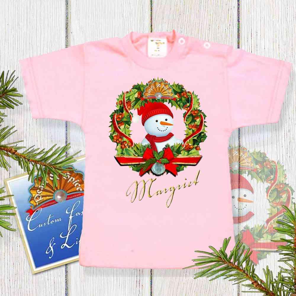 Kerst Baby Shirt Zachtroze Pearl Spice